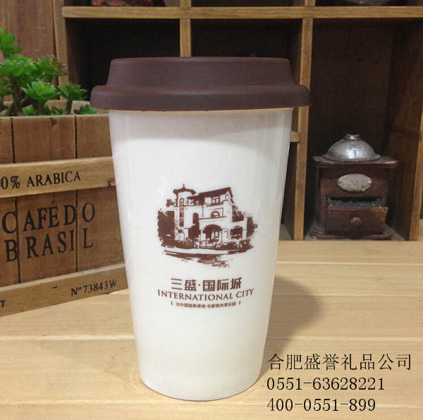 陶瓷双层马克杯带杯套定制印logo